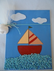 Boat on canvas board