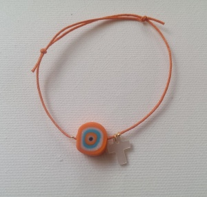 Bracelet orange evil eye_shell cross