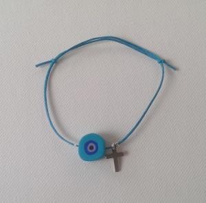 Bracelet turquoise evil eye_silver cross